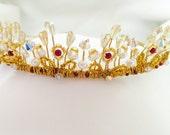Tiara, Golden Wedding Crown, Gold Headpiece, Gold Crystal Crown,  Gold Tiara, Bridal Crown, Bridal Headpiecece, Wedding Hair Accessory
