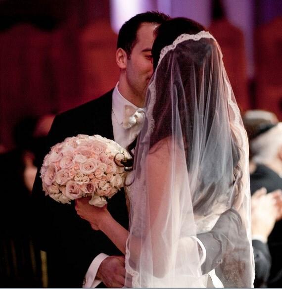 Chantilly Lace Veil, Eyelash Lace Veil, Delicate Lace Veil, Mantilla veil, Wedding Veil, Bridal Veil, Simple Lace Veil - ANDREA VEIL