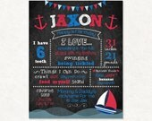 Nautical Birthday - First Birthday Chalkboard - Printable Digital File Customized - Ocean Sea Birthday - Anchor - Sailboat - Boat Birthday