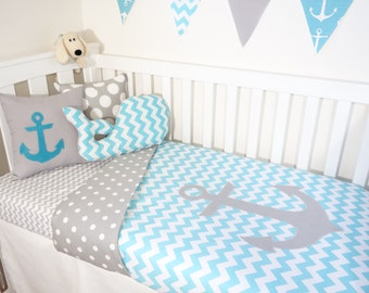 Aqua and grey nautical anchor nursery set items