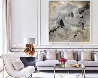 Watercolor Abstract Painting, Contemporary Art, Print, Huge Wall Art, Gold and Black Decor, Large Painting ''Milky Way''by Julia Apostolova
