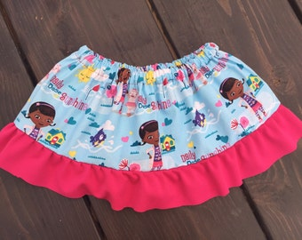 DocMcstuffins skirt with coordinating ruffle