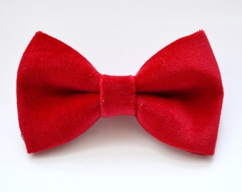 Velvet Red bow tie For baby/Toddler/Teen/Adult/with Adjust strap/Clip on
