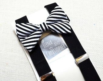 Black and White Stripe Bow tie And Black Suspender Set !! for toddler/ boy/ baby/Teen/Adult/Men