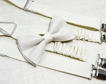 Ivory bow tie and Suspender Set for baby/toddler/teen/adult