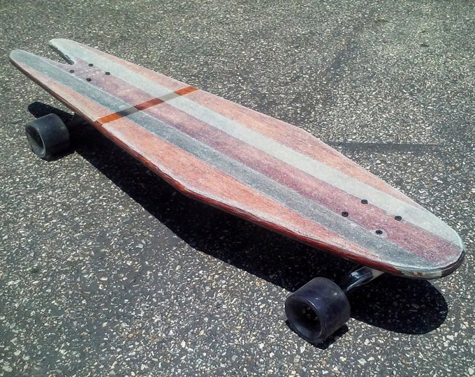 Medusa Vintage Inspired Complete Custom Longboard - Wine Red, Silver, and Mahogany Brown Stripes - Cruiser Skateboard with Trucks and Wheels