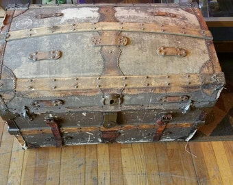 Antique Victorian Humpback Dome top Steamer Trunk 1883