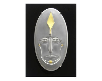Tribal, Modernist, Glass Wall Sculpture, Paul Wunderlich, 1980s
