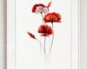 Abstract Poppy Flower, Red Living Room Decor, Watercolor Poppies Home Decor Gift Idea, Floral Art Print, Red and Brown Flowers Illustration