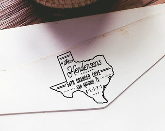Self Inking Stamp / Self Inking Return Address Stamp Personalized State Texas Stamp / si0058