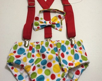 Birthday diaper cover, suspenders and bowtie, colorful dots, circus theme, first birthday