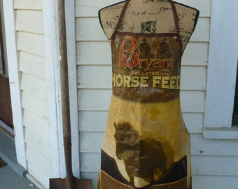 Repurposed Horse Feed Bag Apron, Horse Feed Bag Apron, Recycled Feed Bag Adult Apron