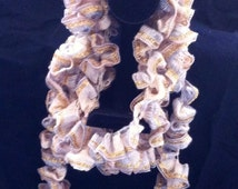 Ruffle Scarf, Sashay Yarn, Women's Fashion Accessory, Fall Colors, Gold Trimmed Edging, Ready to Ship