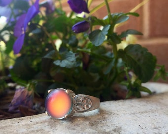 Sterling Silver Mood Color Changing Ring 10mm Round Size 7