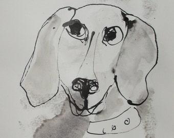 Hund - Portrait Original Zeichnung beigem Künstlerpapier - mit Bambusfeder - Tusche - kostenloser  Versand schwarz weiss