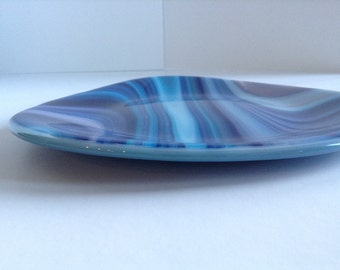 Blue Swirl Fused Glass Plate