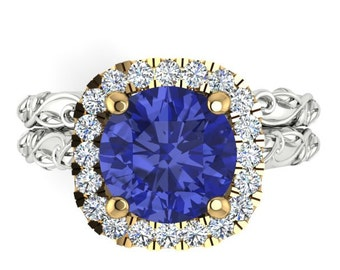 Engagement and Wedding Ring Natural Tanzanite Engagement Ring