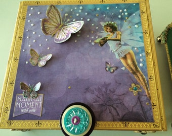 Fairy Princess Memory Jewelery Keepsake Box Altered Cigar Box Embellished Box Decorative Box