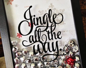 Jingle All The Way~Holiday Vinyl Sticker~Christmas Sticker~Decal for Holiday Crafts~Shadow Boxes & More~Get a Jump Start on Holiday Buying!