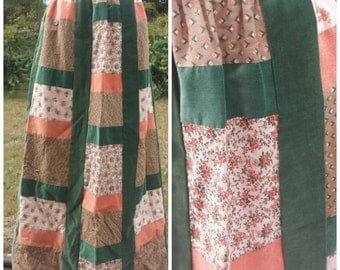 Vintage 1970s patchwork maxi skirt patches quilt green floral long 70s
