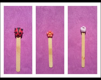 Bookmark animal, handmade fimo flowers