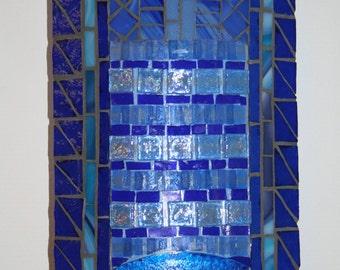 Blue mosaic wall lamp