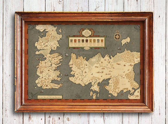 Houses of Westeros map ,Map of The Seven Kingdoms and the free cities, full map of Game of Thrones, map of Westeros Houses, FREE SHIPPING