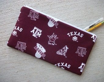 Aggies Pencil Case/Cosmetic Zipper Pouch 5 x 10 inch  Eco-Friendly Padded ***Ready to Ship!