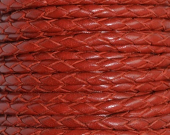 Red - 3mm Bolo Braided Leather Cord per yard