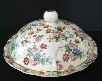 Cheery Chintz Butter Dish with Gold Trim - Dorset - Erphila German Vintage Tableware HTF