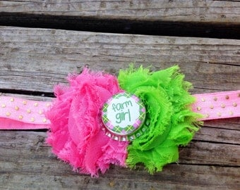 Pink and green headband, headband, shabby chic headband, frayed flower headband, photo prop headband, pink headband, headband,