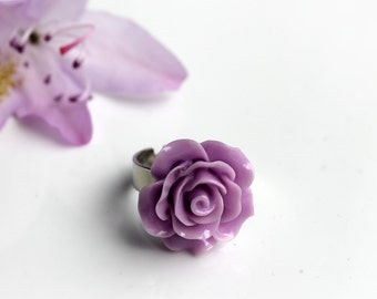 Lilac Rose Charm Ring- Rose Cabochon Ring- Gift for Her-Rose Jewelry- Antiqued Silver Adjustable Ring