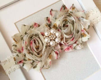 Floral headband,cream headbands,lace headbands,shabby chic headbands,floral print headbands,country headbands,baby headbands,girls headband