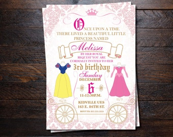 Princess Invitation/ Cinderella/ snow white invitations