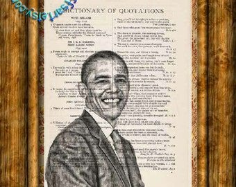 US President Barack Obama Drawing - Beautifully Upcycled Vintage Dictionary Page Book Art Print