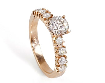Unique engagement Diamond Ring 0.90 Carats  14K Rose gold Diamond Ring, Engagement Ring, White Gold Ring, Size 7