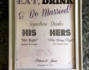 Wedding Drink Menu Custom Designed for Your Wedding