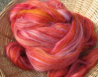 Ewespinningmeayarn Blended Merino Wool and Bamboo Fibre Tops. Pen-y-Lan Sunset