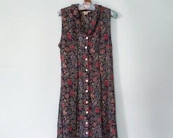 Vintage 90's Boho Romantic Button-Down Floral Maxi Dress - Medium