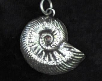 Ammonite Pendant, Sterling Silver Fossil Pendant