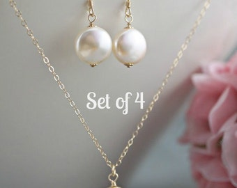 Set of 4 Bridesmaid jewelry set gold filled necklace earrings Wedding jewelry Bridesmaid bridal party gift Delicate jewelry coin pearls