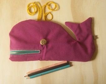 Pink whale, entry, child gift, Moby Dick, designed by hand in Quebec, coop La Machine