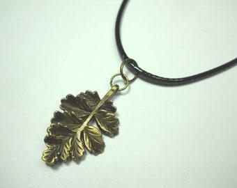 Fall Leaf Pendant, Antique Bronze Tone, Men's Necklace, Women's Necklace, Black/Brown Faux Leather Cord, Black/Brown Suede Leather Cord