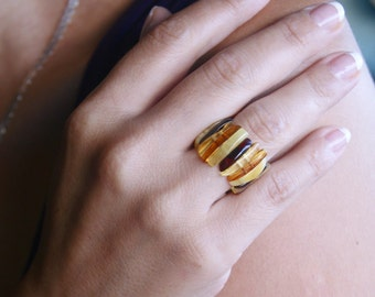 Baltic amber ring multicolor