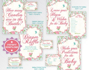 Shabby chic baby shower games printable package 1 - INSTANT DOWNLOAD
