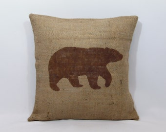Custom made rustic burlap bear pillow cover/sham - multiple sizes and option to customize color
