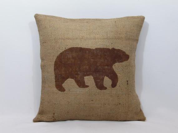 Bear Throw Pillow Covers : Custom made rustic burlap bear pillow cover/sham multiple