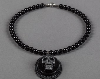 Onyx Glossy Black Skull Necklace Noir Edition