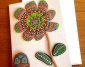 Painted stone mandala flower 3 - Greeting Card
