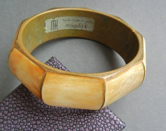 Vintage Magda K bangle, Magda K, vintage bone bangle, vintage brass bone bangle, brass bone bangle, vintage brass bone bangle